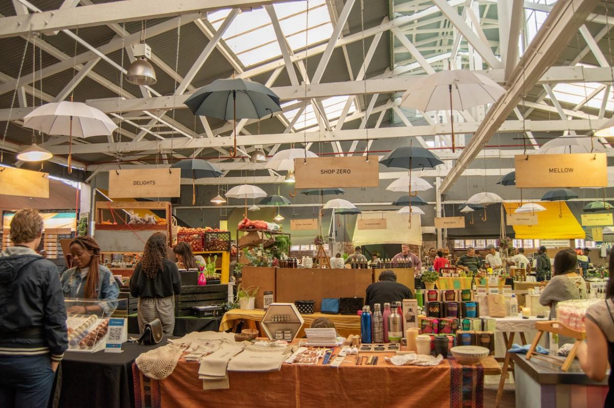 Neighbourgoods Market in Oranjezicht Umbrellas